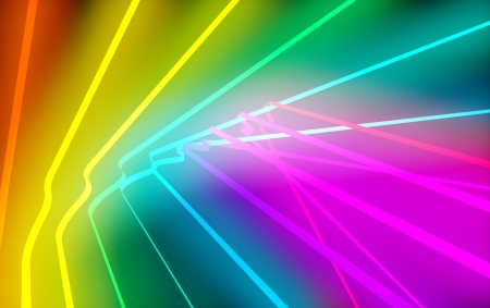 spectral: Colorful curved spectral glowing neon lines  Stock Photo
