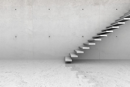 Modern concrete empty room with stone stairs photo