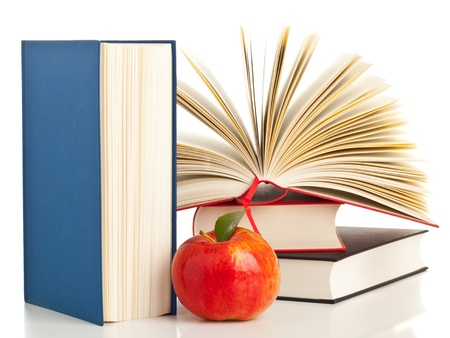 Open book with stack of books with apple - education and nutrition concept Stock Photo - 19991474