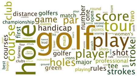 cloud based: Golf sports based terms word cloud tags