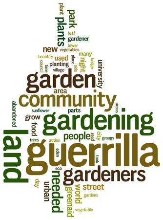 urban gardening: Urban or guerrilla gardening based terms word cloud tags
