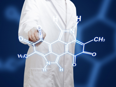 drug discovery: Chemistry researcher working on chemical molecular model on transparent display