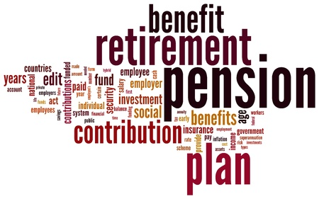 retirement savings: Pension and retirement based terms word cloud tags