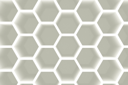 Modern white hexagon shaped empty shelves background photo