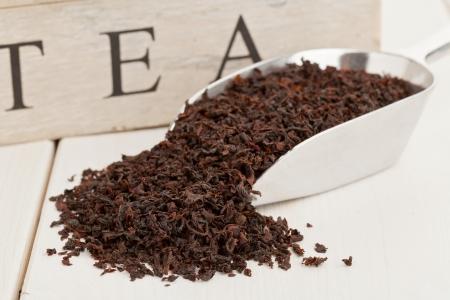 tea crop: Ceylon black tea crop on metal scoop