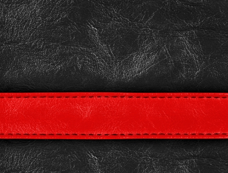 stitching: Red and black colored stitched leather close up with seam Stock Photo