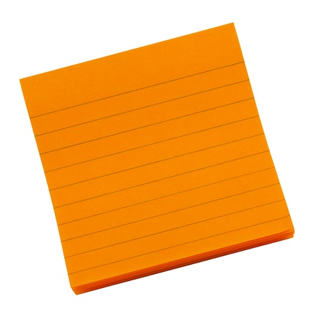 bulletinboard: Orange blank sticky notepad isolated on white background