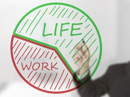 business life line: Businessman drawing life  work balance pie chart Stock Photo