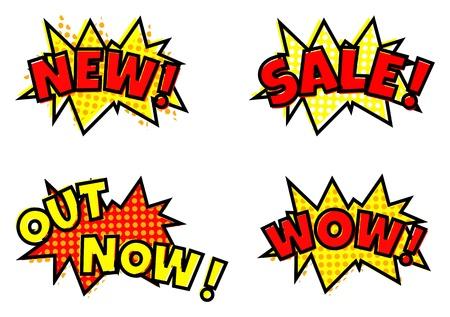 Pop-art styled sale announcement comic balloon bubbles Stock Photo - 22943694