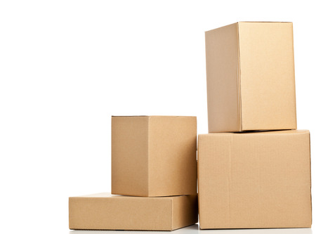 closed box: Stacked brown delivery carton boxes on white background