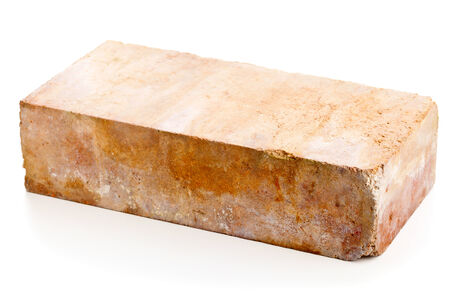 clay brick: Old grungy clay brick over white background Stock Photo