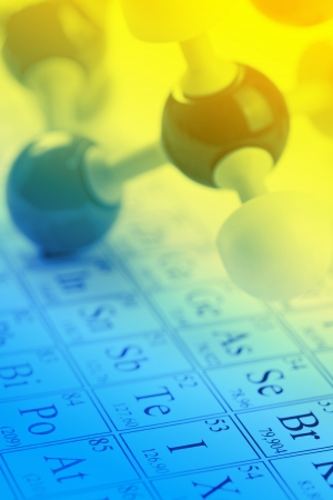 periodic table of the elements: Molecule model on periodic table of the elements Stock Photo
