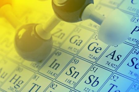 Molecule model on periodic table of the elements Archivio Fotografico