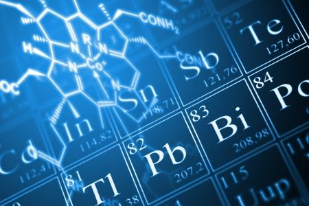 periodic: Molecule structural formula model on periodic table of the elements