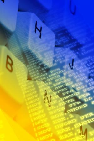 Assembler computer program source code overlay on keyboard close up