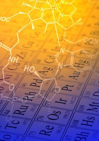 Molecuul structuurformule model op periodiek systeem der elementen