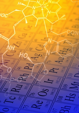 Molecule structural formula model on periodic table of the elements