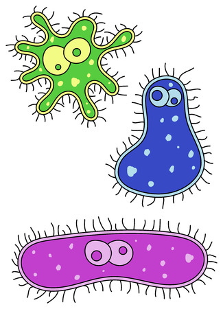Cute looking green, blue and pink cartoon germ characters photo