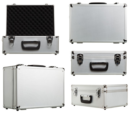 Metal suitcase different variations open and closed isolated on white background
