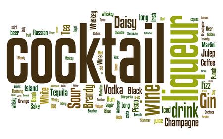 ajenjo: Nube de palabras con diferentes cócteles e ingredientes