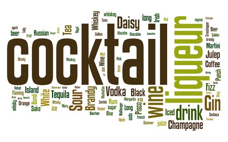 Word cloud with different cocktails and ingredients