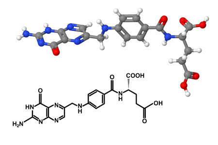 Vitamin B9 (Folic acid) molecule with chemical formula isolated on white background photo
