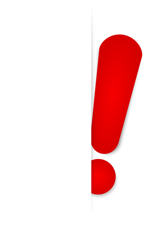 exclamation sign: Red exclamation mark stuck in white background