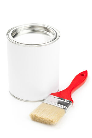 Red paint brush with paint bucket isolated on white background - home renovation or diy concept