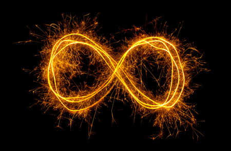 sparkler: Glowing moebius strip infinity symbol isolated on black background