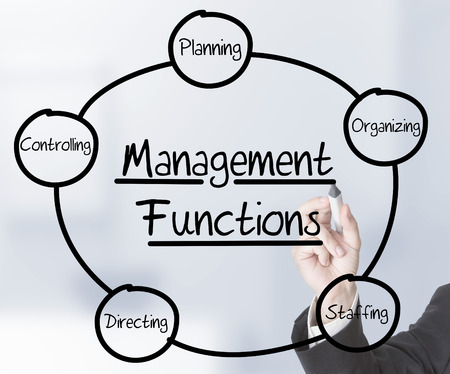 functions: Businessman drawing Management Functions schema on transparent screen