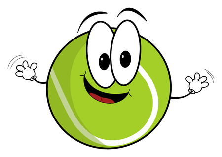 eye ball: Illustration of a happy cartoon tennis ball character waving its hands isolated on white background