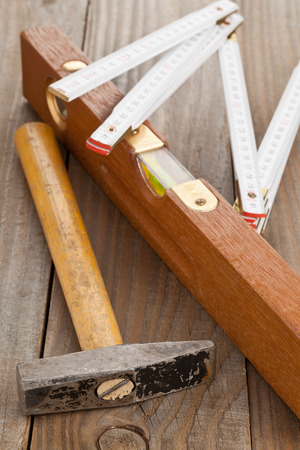 doityourself: Do-it-yourself tools on wooden background Stock Photo