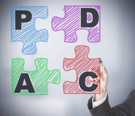 Businessman drawing PDCA schema on transparent screen photo
