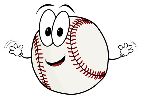 eye ball: Illustration of a happy cartoon baseball character waving its hands isolated on white background