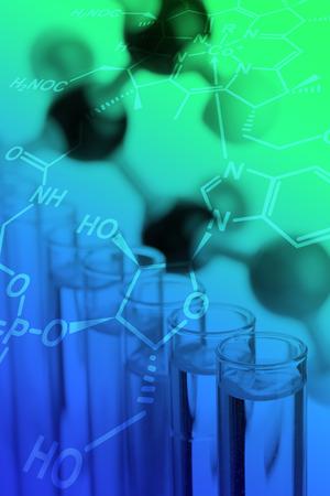 試験管の分子モデル - 化学または生物学科学の背景 写真素材