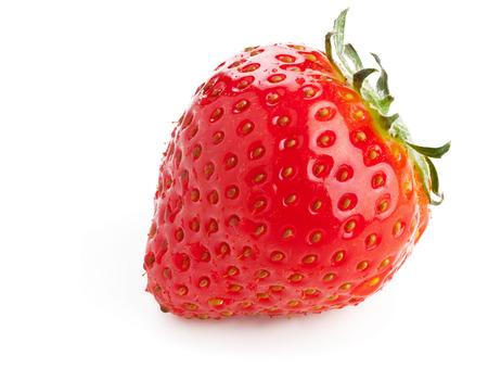 Single ripe organic strawberry on white background photo