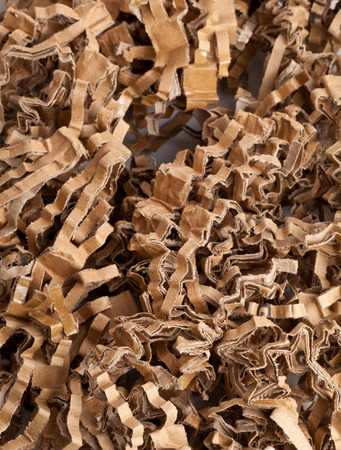 biodegradable material: Recycled corrugated cardboard stripes packaging material close up