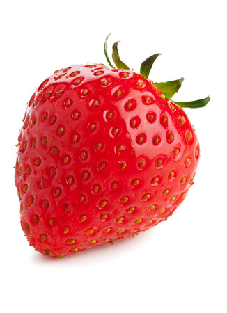 Single ripe organic strawberry on white background photo