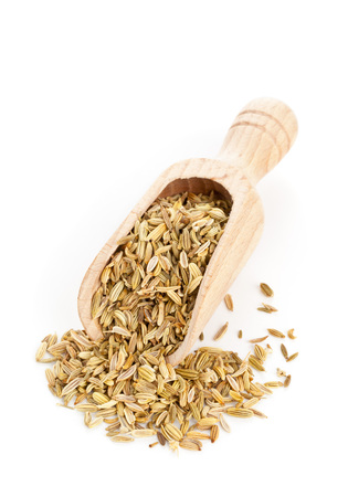 fennel seed: Dried organic fennel seeds on wooden scoop over white background