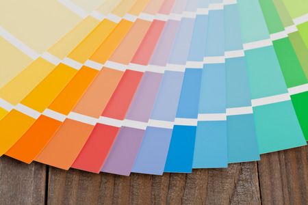 pallet: Color chart guide on wooden surface Stock Photo
