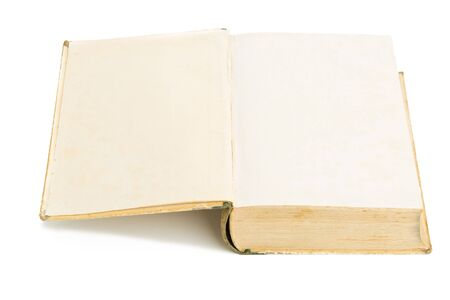 hardcover: Opened old aged hardcover book on white background