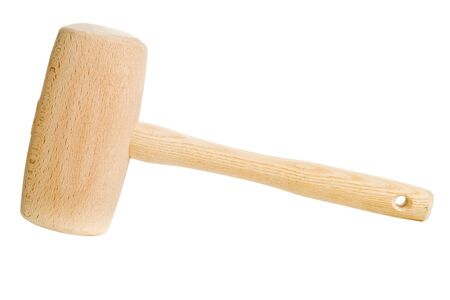 Clean wooden mallet isolated on white background