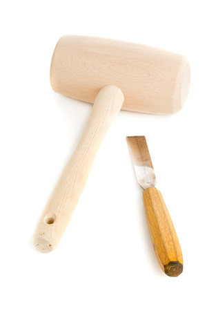chisel: Wooden mallet and chisel isolated on white background Stock Photo