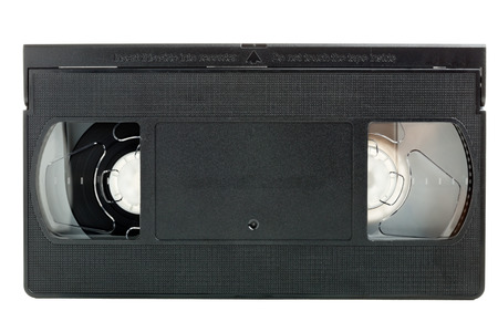 broadcasting: Analog video home system (VHS) tape isolated on white background