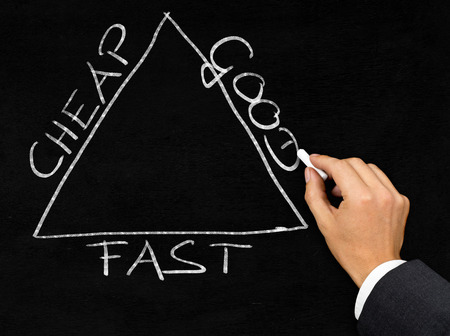 Man drawing Cheap, good, fast business triangle with chalk on blackboard background