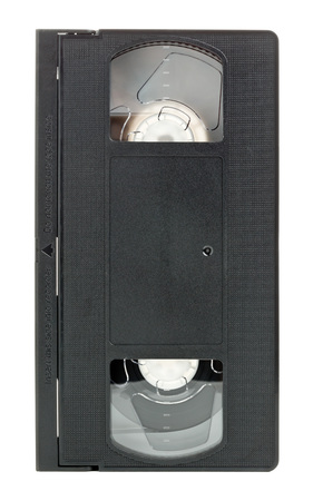 videocassette: Analog video home system (VHS) tape isolated on white background