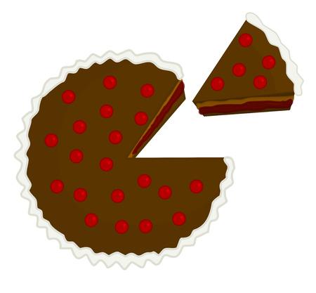 porcion de pastel: torta de chocolate de la cereza con el pedazo cortado ilustración aislado sobre fondo blanco
