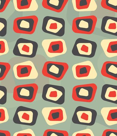 60s fashion: Seamless repeatable abstract curved rectangle vintage pattern with contemporary colors