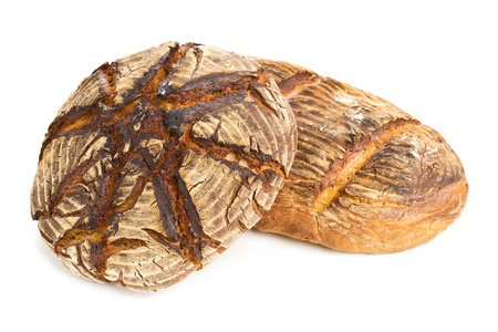 flavours: Home-made bread loaves of different flavours on white background