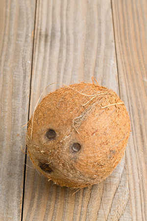 uncut: Whole uncut coconut on wooden table background Stock Photo